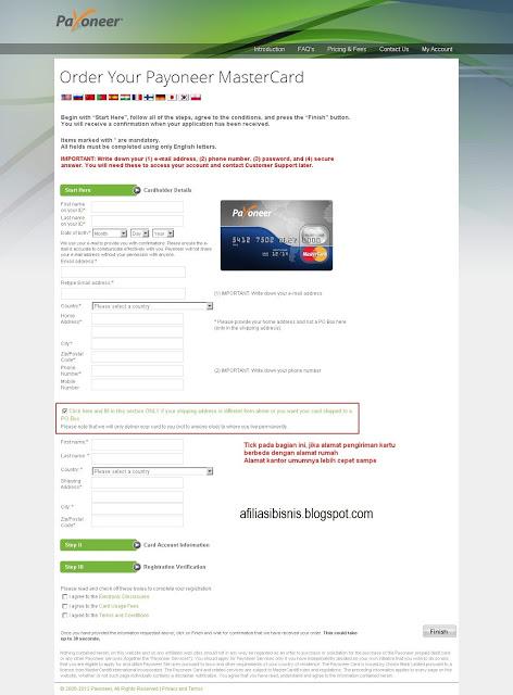 cara mendaftar payoneer gratis