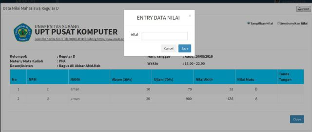 entry data nilai
