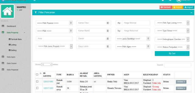 aplikasi data listing