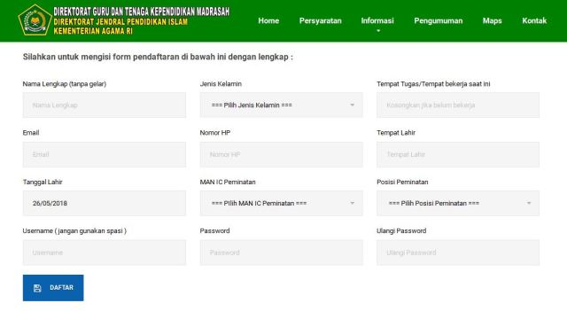 aplikasi pendaftaran online