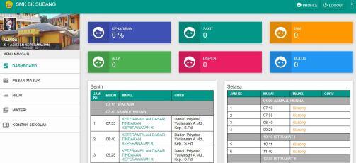 tampilan siswa sistem informasi akademik